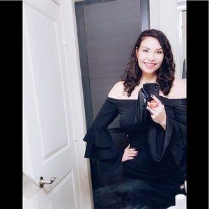 Black off the shoulder, pencil midi dress